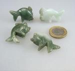 3er Set Fische aus farblich gemischter Jade ( Jadeit ) als Anhänger
