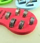 12er Set Zehenringe versch. Designs 925 Silber 4-6 mm breit