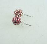 Ohrstecker rot mit Glaskristallen ca. 8 mm auf 925 Silber