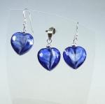 Anhänger - Ohrhängerset buntes Glas - blau - an 925 Silber