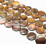 Perlmutt goldfarben Discstrang ca. 18 mm / 40 cm