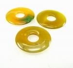 3er Set 50 mm Achat gelb-grün (beh.) Donut Anhänger