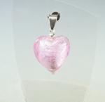 Glas Herz - Anhänger pink an 925 Silber ca. 34 x 20 mm