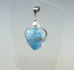 Glas Herz - Anhänger blau an 925 Silber ca. 40 x 20 mm