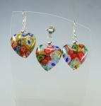 Herz - Set aus Glas Ohrhänger & Anhänger 925 Silber