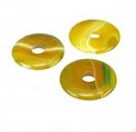3er Set 25 mm gelb-grüner Achat Donut Anhänger