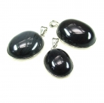 3er set Obsidian Anhänger oval gefasst ca. 40 - 55 mm