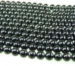 schwarzer Turmalin Schörl Kugelstrang ca. 10 mm / ca. 40 cm