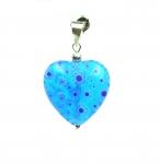 Herz Anhänger blaues Glas an 925 Silber ca. 40 x 25 mm
