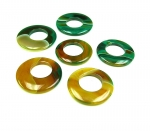 3er Set 35-45 mm gelb-grüner Achat Donut Anhänger