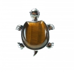 3er Set Tigerauge Schildkröte Anhänger ca. 43 x 35 mm