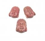 Buddha Kopf Anhänger Rhodonit ca 35x26 mm 1,4 mm Bohrung