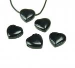 5er Set Herz Anhänger aus Obsidian poliert ca. 20 x 20 mm
