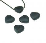 5er Set Herz Anhänger aus Obsidian mattiert ca. 20 x 20 mm