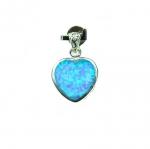 Opal synthetisch Herz Anhänger in 925 Silber ca. 19 x 12 mm