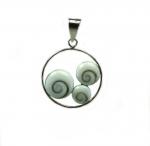 Operculum Anhänger Kreis in 925 Silber ca. 37 x 26 mm