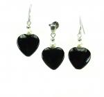 Onyx mit Perle Set Herz / Ohrhänger & Anhänger an 925 Silber