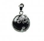 3er Set Obsidian Drachen Anhänger Button ca. 35 x 23 mm