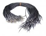 10er Set Kautschuk Halsband schwarz ca. 2 mm / ca. 45 cm mit Karabinerhaken
