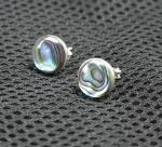 Abalone Ohrstecker rund in 925 Silber ca. 10 mm