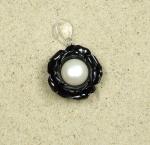 3er Set Rosen Anhänger schwarz mit Kunstperle an 925 Silber ca. 30 x 20 mm