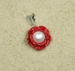 3er Set Rosen Anhänger rot mit Kunstperle an 925 Silber ca. 30 x 20 mm