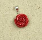 3er Set Rosen Anhänger rot an 925 Silber ca. 27 x 16 mm