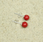 3 Paar Resin Ohrstecker rot ca. 6 mm auf 925 Silber
