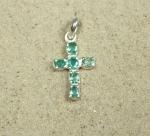 Smaragd Anhänger Kreuz in 925 Silber ca. 27 x 13 mm