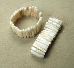 5er Set Perlmutt - Armband Zahn ca. 5 x 30 mm / ca. 18-19 cm