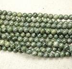 grüner Streifenjaspis aus Afrika Kugelstrang ca. 8 mm / ca. 40 cm
