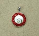 Operculum Anhänger rot mit Zirkonia in 925 Silber ca. 40 x 28 mm
