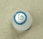 Operculum Fingerring blau mit Zirkonia freie Größe in 925 Silber