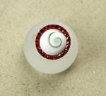 Operculum Fingerring rot mit Zirkonia freie Größe in 925 Silber