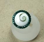 Operculum Fingerring grün mit Zirkonia freie Größe in 925 Silber