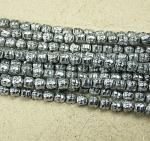Hämatit Strang Buddha Platinfarben ca. 8 mm / ca. 40 cm