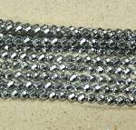 Hämatit Kugelstrang facettiert 64 Facetten Platinfarben ca. 6 mm / ca. 40 cm