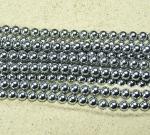 Hämatit Kugelstrang Platinfarben ca. 6 mm / ca. 40 cm