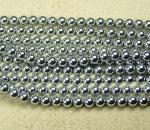 Hämatit Kugelstrang Platinfarben ca. 8 mm / ca. 40 cm