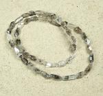 Rutilquarz schwarz Halskette ca. 5-6 mm / ca. 45 cm mit 925 Silberkarabiner