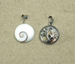 Operculum Anhänger mit Lebensbaum klein in 925 Silber ca. 30 x 18 mm