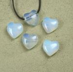 5er Set Herz Anhänger aus Opalglas (syn.) ca. 20 x 20 mm