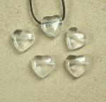 5er Set Herz Anhänger aus Bergkristall ca. 20 x 20 mm