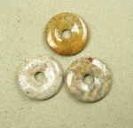 3er Set versteinerte Koralle Donut Anhänger ca. 40 mm