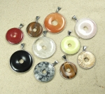 5er Set Donut Anhänger gefasst im Mix ca. 30 bis 40 mm