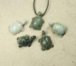 3er Set Jade Schildkröten - Anhänger aus Jadeit ca. 35 x 26 mm