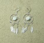 Operculum Ohrhänger rund mit 3 Federn 925 Silber ca 57x20 mm