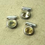 Lemonquarz Anhänger in 925 Silber ca. 20-25 mm