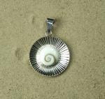 Operculum Anhänger Blume verziert in 925 Silber ca. 36 x 25 mm