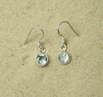 Blauer Topas Ohrhänger facettiert A-Qualität ca. 25x7 mm rund in 925 Silber